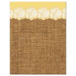 yellow, brown, ivory floral lace and burlap confirmation invote