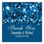 Blue Glittery Confetti Personalized Favor Gift Tags