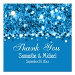 Bright Blue Glittery Confetti Personalized Favor Gift Tags