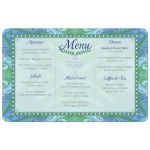 blue green batik beach wedding menu