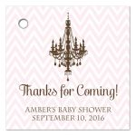 Pink chevron and brown chandelier thank you favor tags