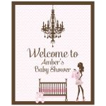 Pink chevron and brown chandelier baby shower welcome sign