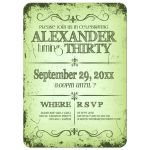 Fresh Olive Green Grunge Typography Birthday Party Invitation