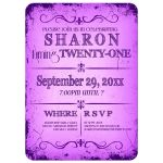 Fresh Purple Grunge Typography Birthday Party Invitation