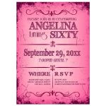 Fresh Hot Pink Grunge Typography Birthday Party Invitation