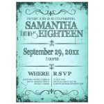 Fresh Teal Grunge Typography Birthday Party Invitation