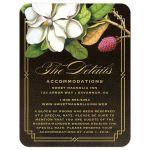 Elegant Vintage Southern Magnolia Wedding Details Cards front