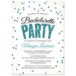 Teal Glitter Look Confetti Bachelorette Party Invitations front