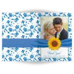 Sunflower, french blue and white damask floral wedding photo thank you card