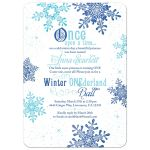 Royal blue turquoise snowflake snow princess winter onederland ball first birthday invitation front