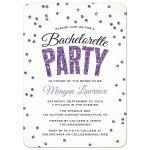 Purple Glitter Look Confetti Bachelorette Party Invitations front