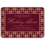 Cranberry & Gold Geometric Corporate Holiday Party Invitations front