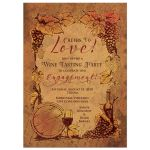 Rustic wine tasting vineyard wedding engagement party invitation front