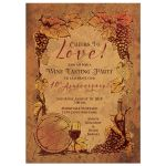 ​Wine tasting vineyard wedding anniversary party invitation front