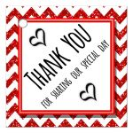 Cute Red Sparkly Chevron Thank You Party Favor Tags