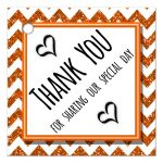 Cute Orange Sparkly Chevron Thank You Party Favor Tags