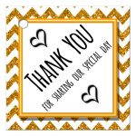Cute Gold Sparkly Chevron Thank You Party Favor Tags