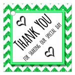 Cute Green Sparkly Chevron Thank You Party Favor Tags