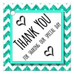 Cute Teal Sparkly Chevron Thank You Party Favor Tags