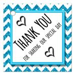Cute Blue Sparkly Chevron Thank You Party Favor Tags