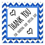 Cute Navy Blue Sparkly Chevron Thank You Party Favor Tags