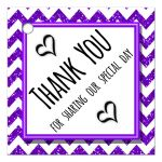 Cute Purple Sparkly Chevron Thank You Party Favor Tags