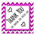 Cute Pink Sparkly Chevron Thank You Party Favor Tags