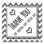 Cute Silver Sparkly Chevron Thank You Party Favor Tags
