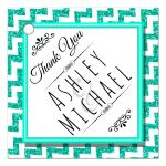Cute Teal Sparkly Chevron Personalized Party Favor Thank You Tags