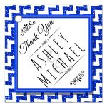 Cute Navy Blue Sparkly Chevron Personalized Party Favor Thank You Tags
