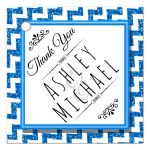 Cute Blue Sparkly Chevron Personalized Party Favor Thank You Tags