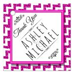 Cute Pink Sparkly Chevron Personalized Party Favor Thank You Tags