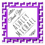 Cute Purple Sparkly Chevron Personalized Party Favor Thank You Tags