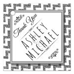 Cute Silver Sparkly Chevron Personalized Party Favor Thank You Tags