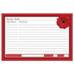 Bridal Shower Recipe Card Red Gerbera Daisy Polka Dot Back