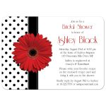 Bridal Shower Invitation Red Gerbera Daisy Polka Dot