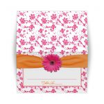 Tent Style Place Card Pink Orange Gerbera Daisy Damask