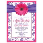 Communion Invitation | Pink Gerber Daisy Purple Damask Front