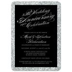 Silver Glitter Look 25th Wedding Anniversary Party Invitations front