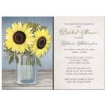 Bridal Shower Invitations - Rustic Sunflower Blue Mason Jar