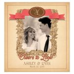 Personalized Photo Wedding Wine Label Rustic Vintage Vineyard Monogram