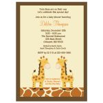 Twin Boy Giraffes Baby Shower Invitation