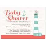 Salmon pink nautical baby shower invitation