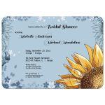 sunflower and blue accent wedding shower invitation