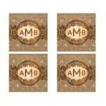 Wedding Stickers | Rustic Burlap Lace Wood Monogram