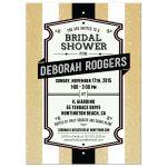 Retro Gold Glitter Stripes Bridal Shower Invitation