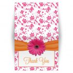 thank you card pink gerbera daisy orange ribbon damask floral