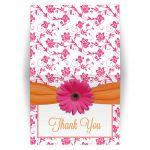 thank you card pink gerbera daisy orange ribbon damask floral