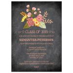 Chalkboard floral bouquet graduation party announcement invitation
