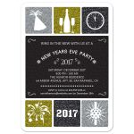 Party Invitation - Glitter Look Simple Icons New Years Eve Party